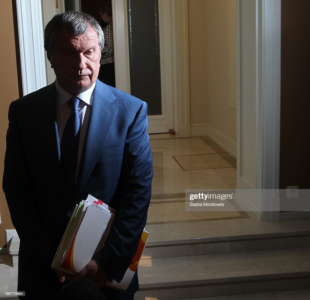 Rosneft oil company President <a gi-track='captionPersonalityLinkClicked' href=/galleries/search?phrase=Igor+Sechin&family=editorial&specificpeople=756791 ng-click='$event.stopPropagation()'>Igor Sechin</a> attends a meeting on September 16, 2013 in Sochi, Russia. Putin visited the newly built $500 million institution Russian International Olympic University, where he spoke about the fascility becoming the main center for training in sports management.