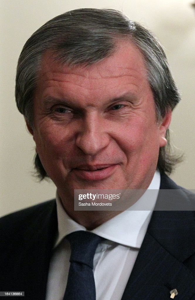 Rosneft oil company President <a gi-track='captionPersonalityLinkClicked' href=/galleries/search?phrase=Igor+Sechin&family=editorial&specificpeople=756791 ng-click='$event.stopPropagation()'>Igor Sechin</a> attends a meeting with Russian President Vladimir Putin (not pictured), ministers other delegates from energy companies on March 20, 2013 in Moscow, Russia. Putin is due to meet China's new leader Xi Jinping later this week and 'key issues of bilateral cooperation' including energy, investments and the ongoing conflict in Syria are on the agenda for discussion.