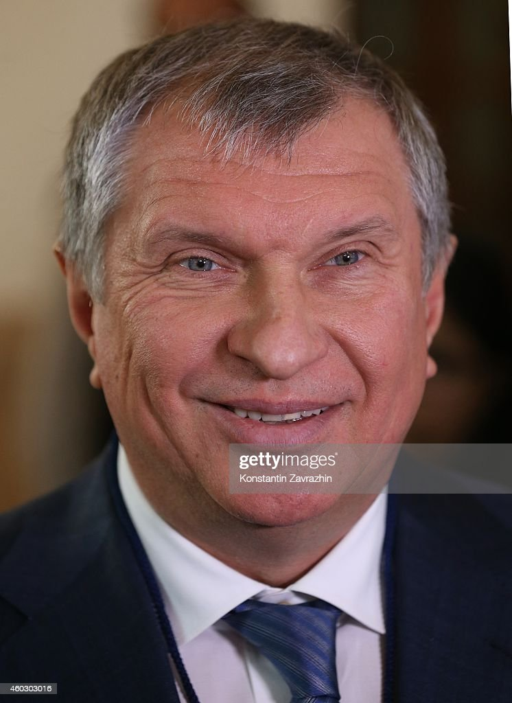 Rosneft President <a gi-track='captionPersonalityLinkClicked' href=/galleries/search?phrase=Igor+Sechin&family=editorial&specificpeople=756791 ng-click='$event.stopPropagation()'>Igor Sechin</a> is seen during Russian-Indian talks in the Haidarabad Palace on December 11, 2014 in Delhi, India. Putin is having a two-days visit to India.