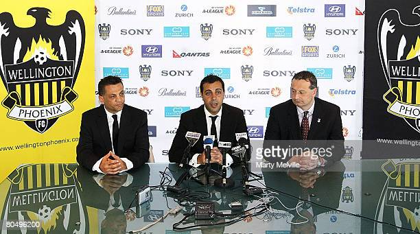 Ross Aloisi captain of the Phoenix announces his retirement to the media with Terry Serepisos owner of the the Phoenix and CEO Tony Pignata during a...