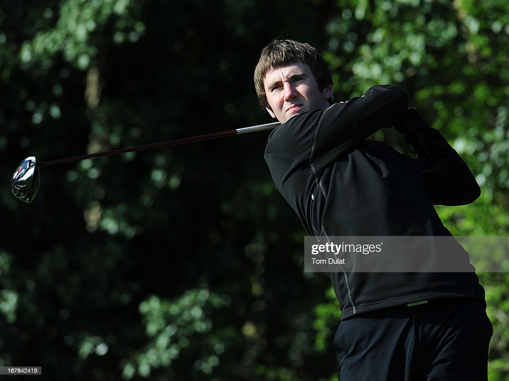 Ross Anderson of Finchley Golf Club tees off from the 1st hole during the Powerade PGA Assistants' Championship East Regional Qualifier at Chigwell Golf Club on May 01, 2013 in Chigwell, England.