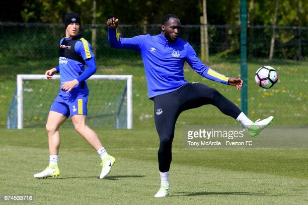 Ross Barkley and Romelu Lukaku during the Everton FC training session at USM Finch Farm on April 28 2017 in Halewood England