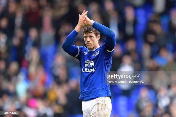 Ross Barkley applauds the fans during the Premier League match between Tottenham Hotspur and Everton at White Hart Lane on March 5 2017 in London...
