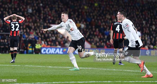 Ross Barkley celebrates his goal during the The Emirates FA Cup Fifth Round match between AFC Bournemouth v Everton at the Vitality Stadium on...