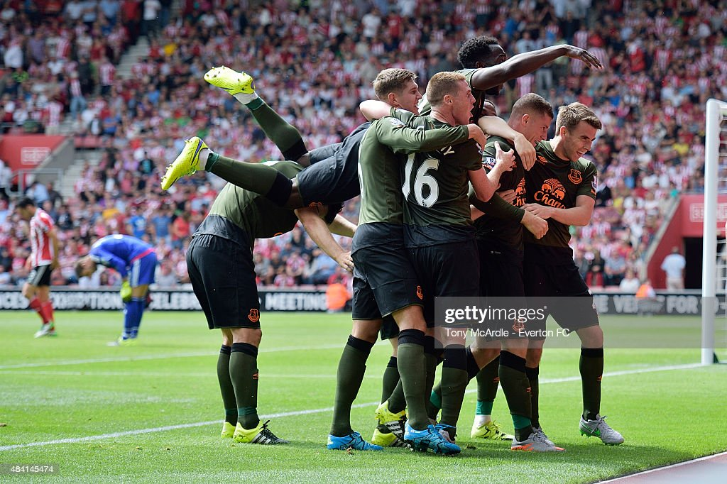 Ross Barkley celebrates with team mates after scoring during the Barclays Premier League match between Southampton and Everton at St Mary's Stadium on August 15, 2015 in Southampton, United Kingdom.