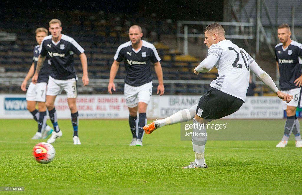 Ross Barkley for Everton scores from penalty spot at the Pre Season Friendly match between Dundee and Everton at Dens Park on July 28, 2015 in Dundee, Scotland.