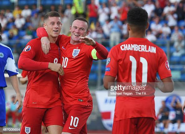 Ross Barkley of England celebrates scoring England's third goal with Wayne Rooney of England during the UEFA EURO 2016 Qualifier Group E match...