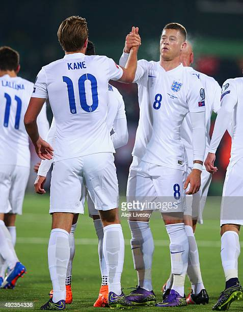 Ross Barkley of England celebrates with Harry Kane as he scores their first goal during the UEFA EURO 2016 qualifying Group E match between Lithuania...