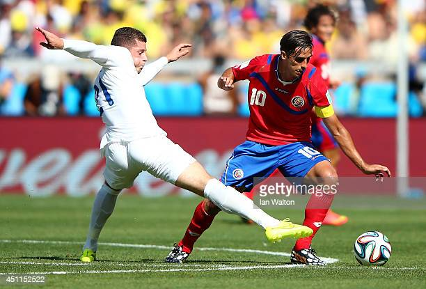 Ross Barkley of England challenges Bryan Ruiz of Costa Rica during the 2014 FIFA World Cup Brazil Group D match between Costa Rica and England at...