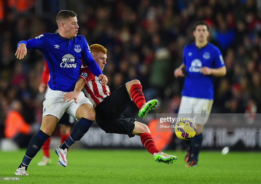 Ross Barkley of Everton and Harrison Reed of Southampton battle for the ball during the Barclays Premier League match between Southampton and Everton at St Mary's Stadium on December 20, 2014 in Southampton, England.