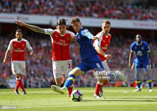 Ross Barkley of Everton and Hector Bellerin of Arsenal clash during the Premier League match between Arsenal and Everton at Emirates Stadium on May...