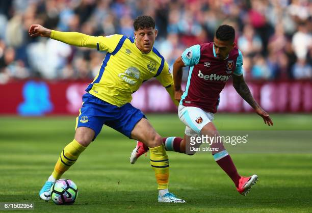 Ross Barkley of Everton and Manuel Lanzini of West Ham United in action during the Premier League match between West Ham United and Everton at the...