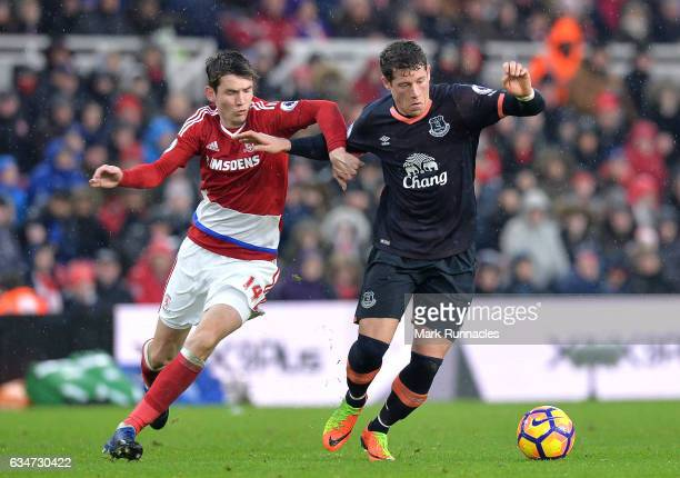 Ross Barkley of Everton and Marten de Roon of Middlesbrough compete for the ball during the Premier League match between Middlesbrough and Everton at...