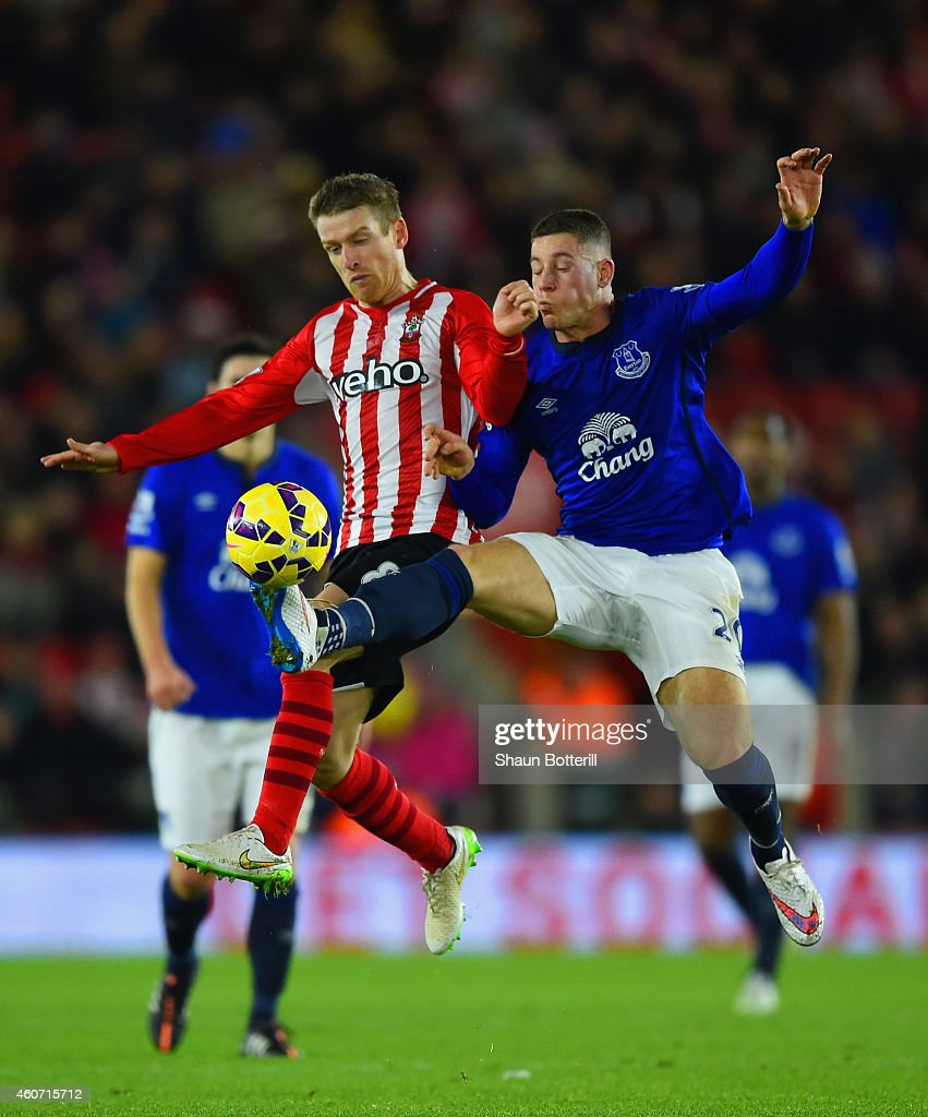 Ross Barkley of Everton and Steven Davis of Southampton battle for the ball during the Barclays Premier League match between Southampton and Everton at St Mary's Stadium on December 20, 2014 in Southampton, England.