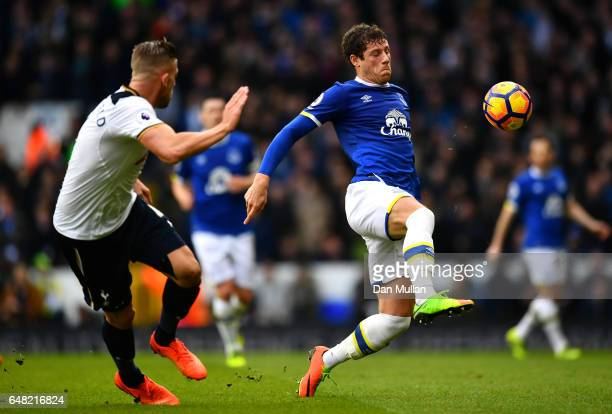 Ross Barkley of Everton and Toby Alderweireld of Tottenham Hotspur in action during the Premier League match between Tottenham Hotspur and Everton at...