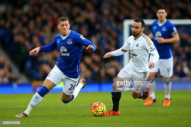 Ross Barkley of Everton battles for the ball with Leon Britton of Swansea City during the Barclays Premier League match between Everton and Swansea...
