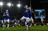 Ross Barkley of Everton celebates after scoring his team's second goal from the penalty spot during the Barclays Premier League match between Everton...