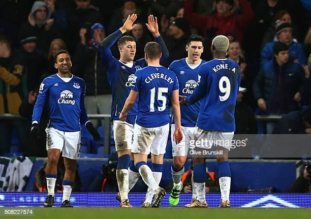 Ross Barkley of Everton celebates with teamates after scoring his team's third goal from the penalty spot during the Barclays Premier League match...
