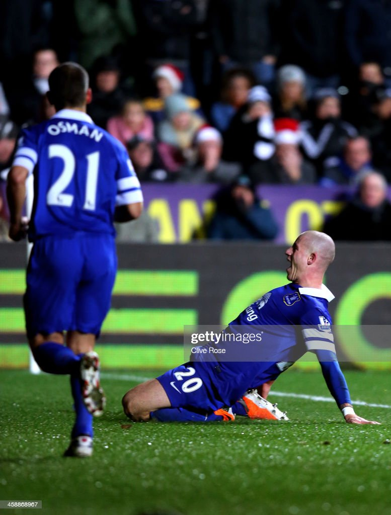 Ross Barkley of Everton celebrates after scoring his team's second goal during the Barclays Premier League match between Swansea City and Everton at the Liberty Stadium on December 22, 2013 in Swansea, Wales.