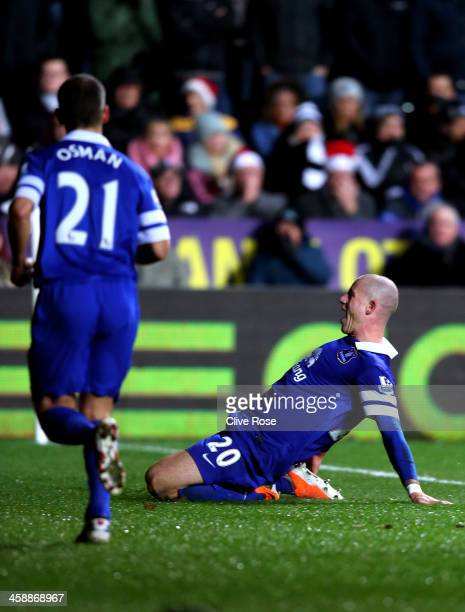 Ross Barkley of Everton celebrates after scoring his team's second goal during the Barclays Premier League match between Swansea City and Everton at...