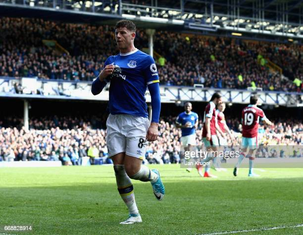 Ross Barkley of Everton celebrates as Ben Mee of Burnley scored a own goal for Everton's second during the Premier League match between Everton and...