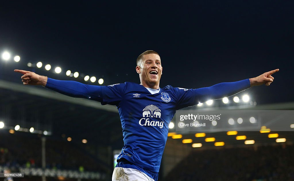 Ross Barkley of Everton celebrates assisting his team's third goal by Gerard Deulofeu (not pictured) during the Barclays Premier League match between Everton and Stoke City at Goodison Park on December 28, 2015 in Liverpool, England.