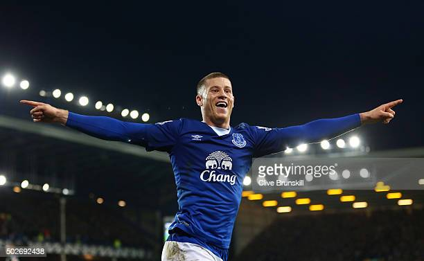 Ross Barkley of Everton celebrates assisting his team's third goal by Gerard Deulofeu during the Barclays Premier League match between Everton and...