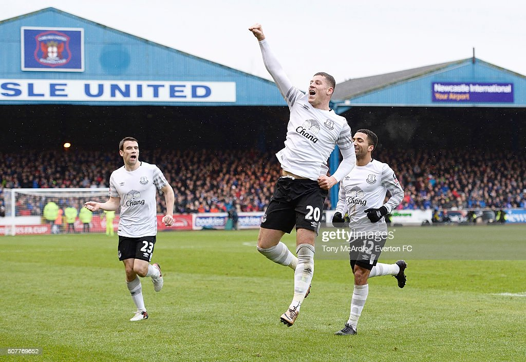Ross Barkley of Everton celebrates his goal during The Emirates FA Cup Fourth Round match between Carlisle United v Everton at Brunton Park on January 31, 2016 in Carlisle, England.