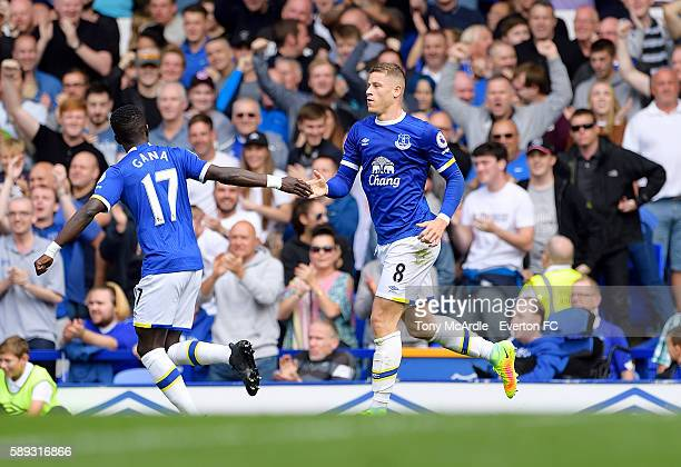 Ross Barkley of Everton celebrates his goal with Idrissa Gueye during the Premier League match between Everton and Tottenham Hotspur at Goodison Park...