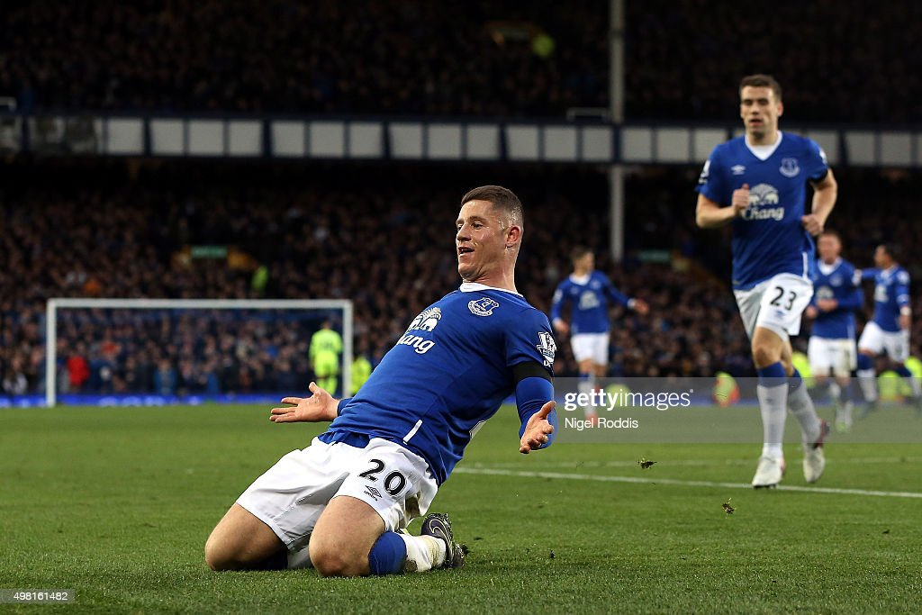 Ross Barkley of Everton celebrates his team's third goal during the Barclays Premier League match between Everton and Aston Villa at Goodison Park on November 21, 2015 in Liverpool, England.