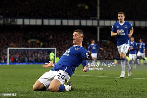 Ross Barkley of Everton celebrates his team's third goal during the Barclays Premier League match between Everton and Aston Villa at Goodison Park on...