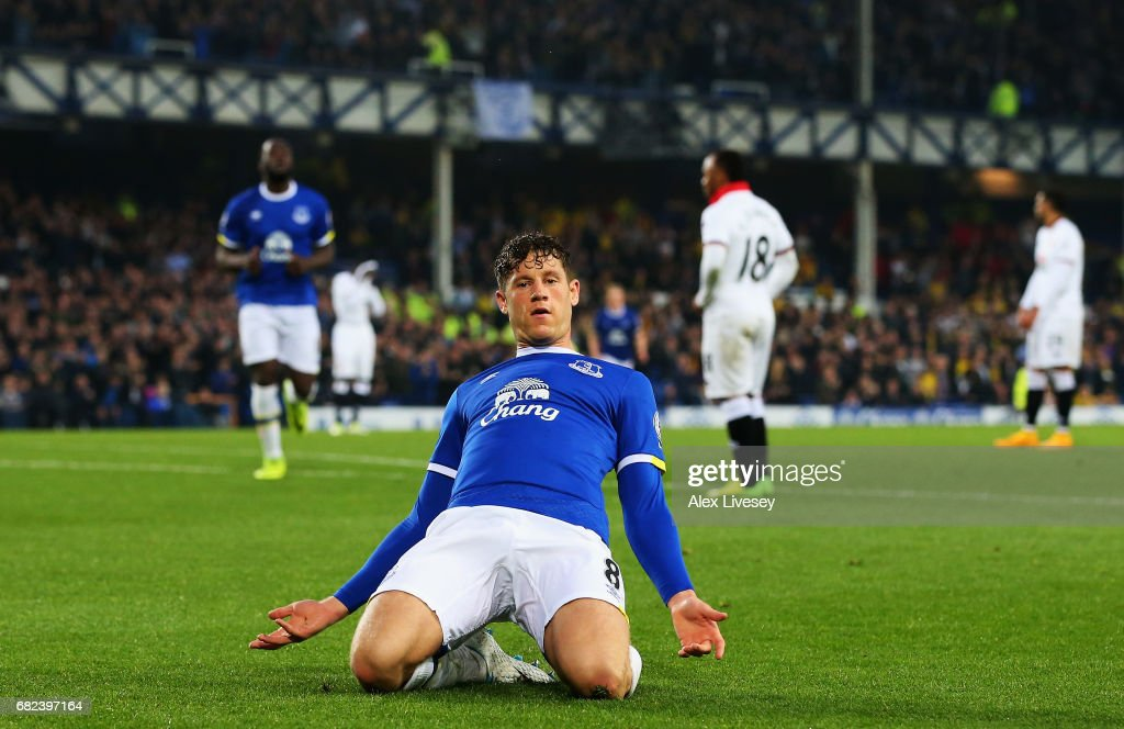 Ross Barkley of Everton celebrates scoring his sides first goal during the Premier League match between Everton and Watford at Goodison Park on May 12, 2017 in Liverpool, England.