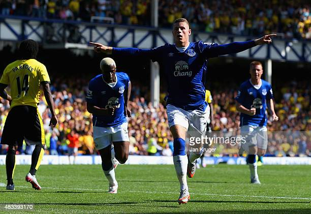 Ross Barkley of Everton celebrates scoring his team's first goal during the Barclays Premier League match between Everton and Watford at Goodison...