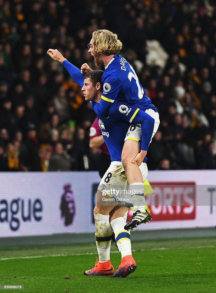 Ross Barkley of Everton celebrates scoring his team's second goal with Tom Davies of Everton during the Premier League match between Hull City and Everton at KCOM Stadium on December 30, 2016 in Hull, England.