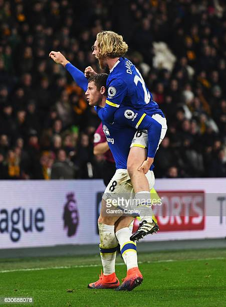 Ross Barkley of Everton celebrates scoring his team's second goal with Tom Davies of Everton during the Premier League match between Hull City and...