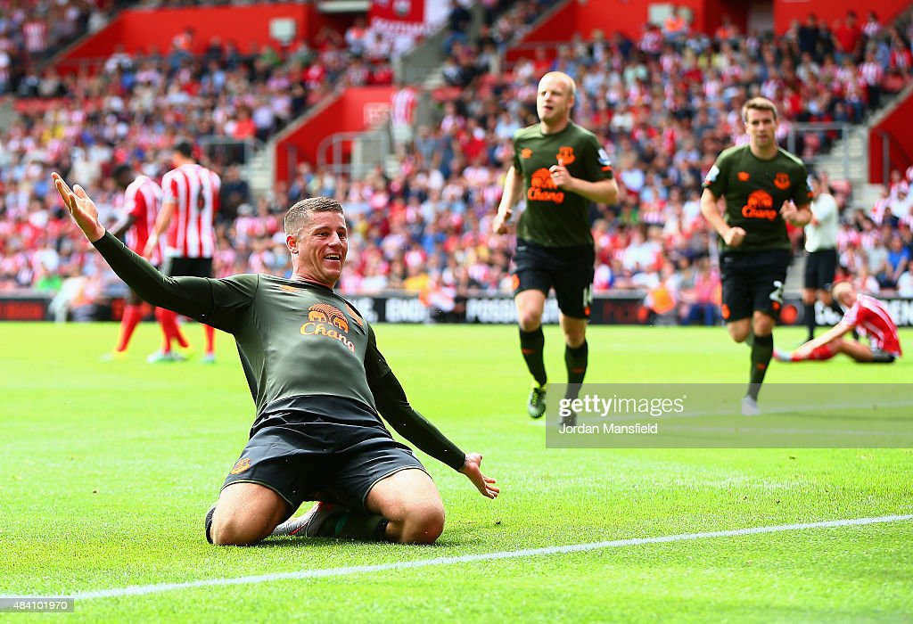 Ross Barkley of Everton celebrates scoring his team's third goal during the Barclays Premier League match between Southampton and Everton at St Mary's Stadium on August 15, 2015 in Southampton, United Kingdom.