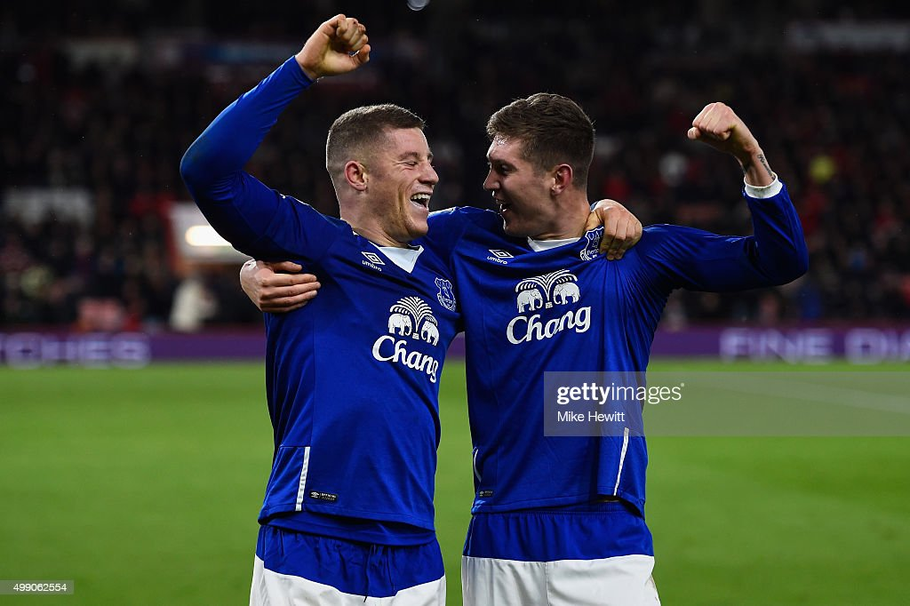 Ross Barkley (L) of Everton celebrates scoring his team's third goal with his team mate John Stones (R) during the Barclays Premier League match between A.F.C. Bournemouth and Everton at Vitality Stadium on November 28, 2015 in Bournemouth, England.