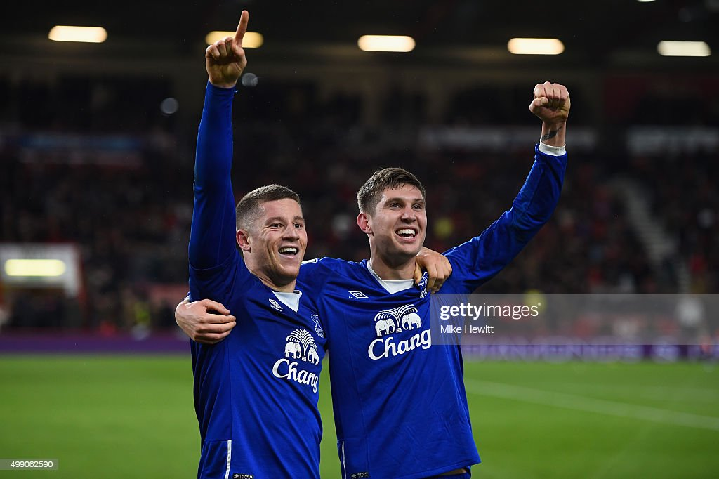 <a gi-track='captionPersonalityLinkClicked' href=/galleries/search?phrase=Ross+Barkley&family=editorial&specificpeople=5806369 ng-click='$event.stopPropagation()'>Ross Barkley</a> (L) of Everton celebrates scoring his team's third goal with his team mate <a gi-track='captionPersonalityLinkClicked' href=/galleries/search?phrase=John+Stones&family=editorial&specificpeople=9603494 ng-click='$event.stopPropagation()'>John Stones</a> (R) during the Barclays Premier League match between A.F.C. Bournemouth and Everton at Vitality Stadium on November 28, 2015 in Bournemouth, England.