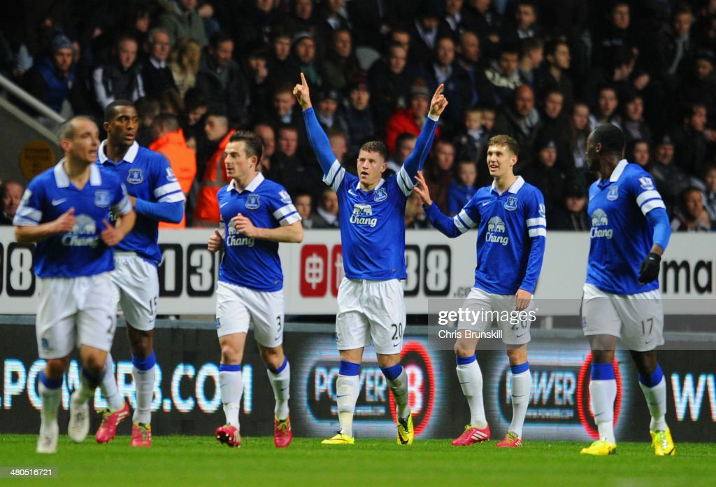 Ross Barkley of Everton celebrates scoring the pening goal with team mates during the Barclays Premier League match between Newcastle United and Everton at St James' Park on March 25, 2014 in Newcastle upon Tyne, England.