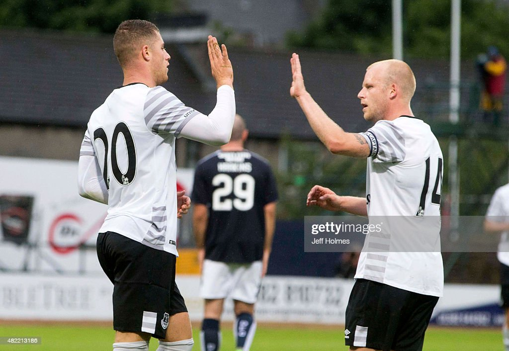 Ross Barkley of Everton celebrates with teammate Steven Naismith during the Pre Season Friendly match between Dundee and Everton at Dens Park on July 28, 2015 in Dundee, Scotland.