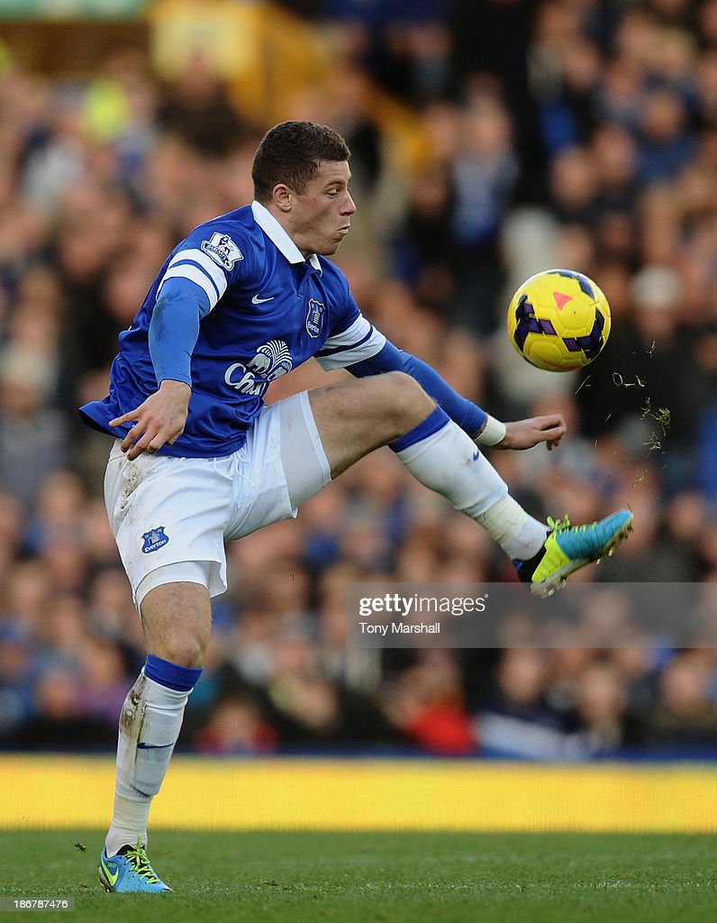 Ross Barkley of Everton during the Barclays Premier League match between Everton and Tottenham Hotspur at Goodison Park on November 3, 2013 in Liverpool, England.