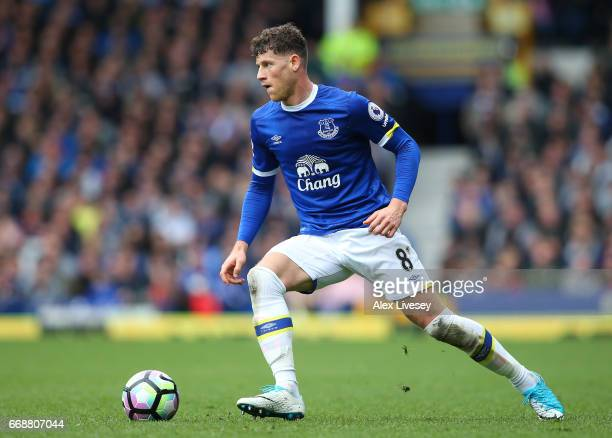 Ross Barkley of Everton in action during the Premier League match between Everton and Burnley at Goodison Park on April 15 2017 in Liverpool England