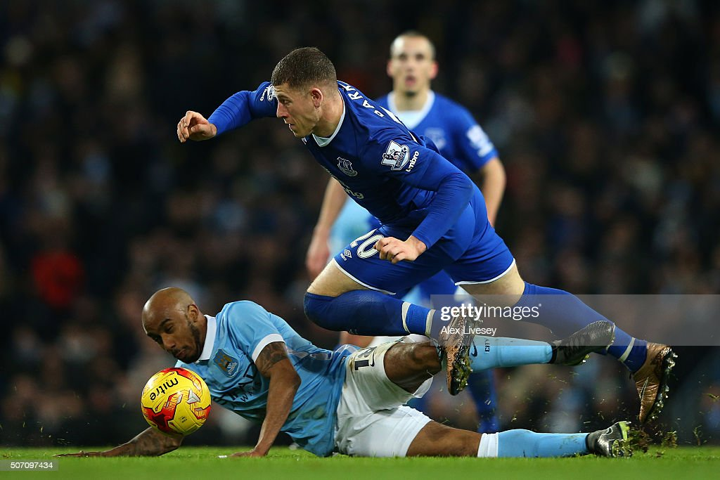 Ross Barkley of Everton is brought down by Fabian Delph of Manchester City during the Capital One Cup Semi Final, second leg match between Manchester City and Everton at the Etihad Stadium on January 27, 2016 in Manchester, England.