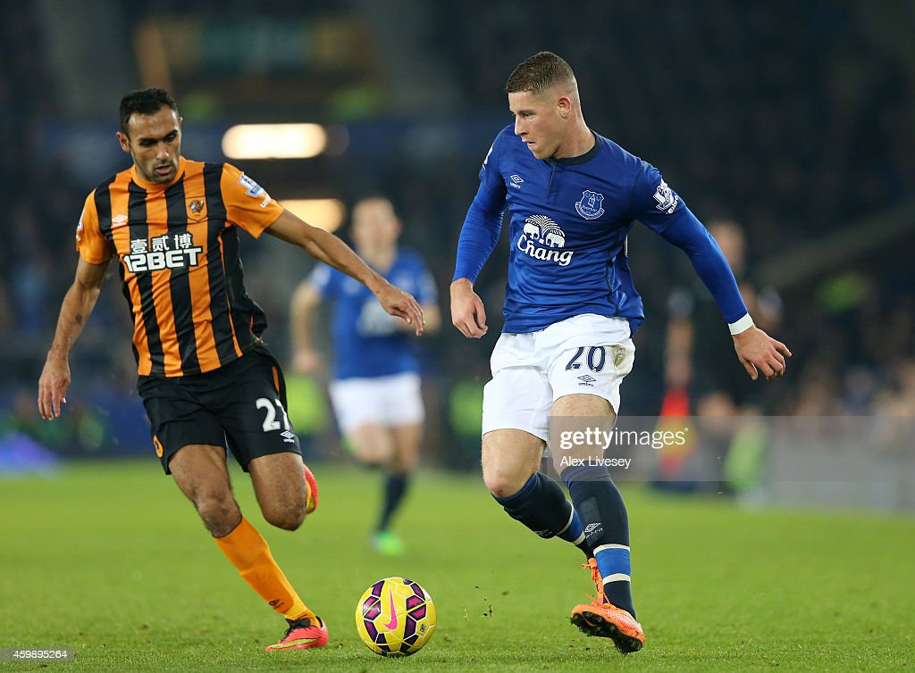 Ross Barkley of Everton is closed down by Ahmed Elmohamady of Hull City during the Barclays Premier League match between Everton and Hull City at Goodison Park on December 3, 2014 in Liverpool, England.