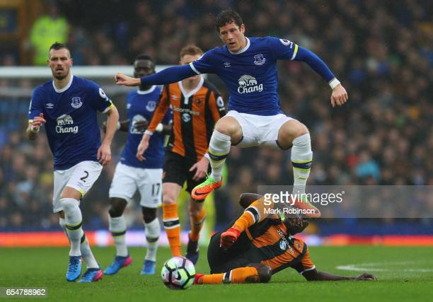 Ross Barkley of Everton is tackled by Alfred N'Diaye of Hull City during the Premier League match between Everton and Hull City at Goodison Park on...