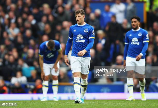 Ross Barkley of Everton looks dejected after Chelsea score their first goal during the Premier League match between Everton and Chelsea at Goodison...