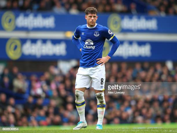 Ross Barkley of Everton looks on during the Premier League match between Everton and Burnley at Goodison Park on April 15 2017 in Liverpool England
