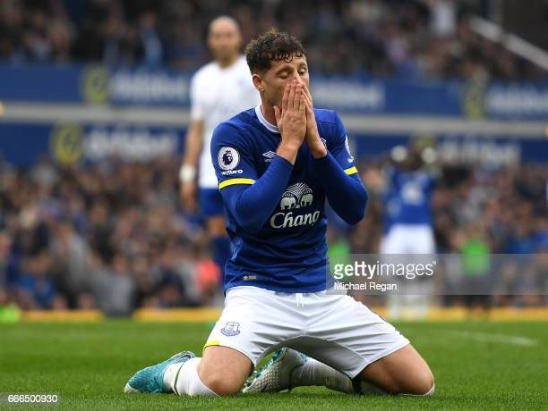 Ross Barkley of Everton reacts after failing to score during the Premier League match between Everton and Leicester City at Goodison Park on April 9...