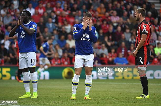 Ross Barkley of Everton reacts to missing a chance during the Premier League match between AFC Bournemouth and Everton at the Vitality Stadium on...