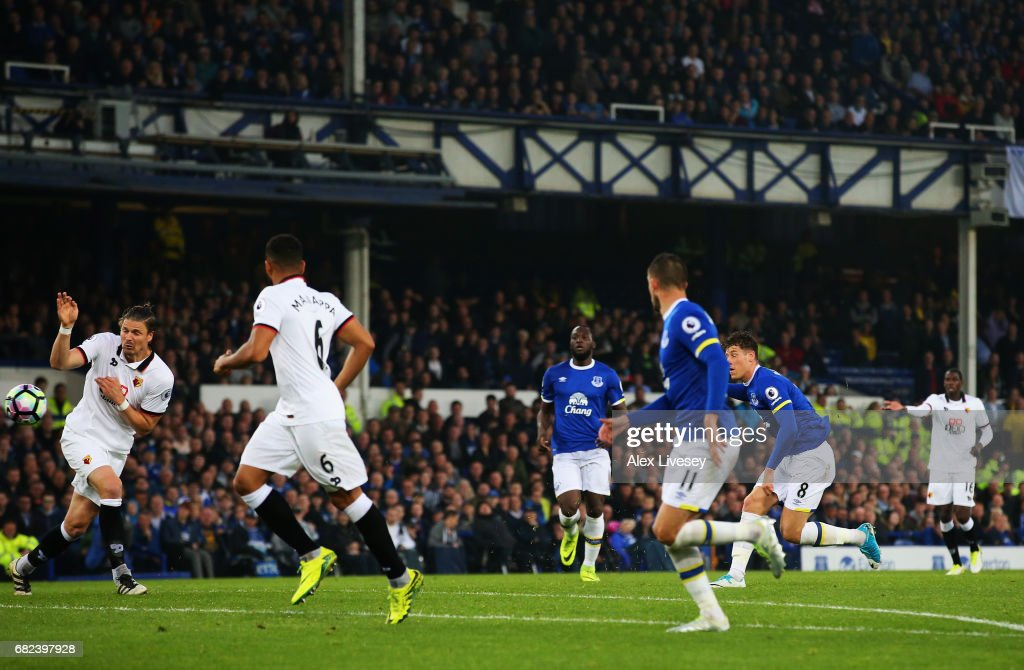 Ross Barkley of Everton scores his sides first goal during the Premier League match between Everton and Watford at Goodison Park on May 12, 2017 in Liverpool, England.